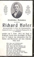 Sterbebild Hofer Richard, Ried b. Kremsmünster